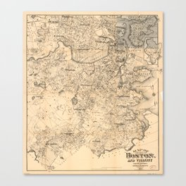 Map of the City of Boston and Vicinity (1907) Canvas Print