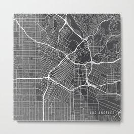 Los Angeles Map, USA - Gray Metal Print