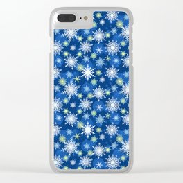 Christmas pattern. Lacy snowflakes on a blue background. Clear iPhone Case