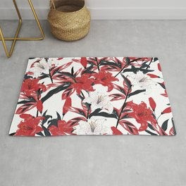 Red & White Lilys Rug