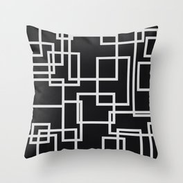 Geometric Cubic Line Pattern Black And White Throw Pillow