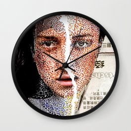 Freckles - Magazine Collage Painting Wall Clock