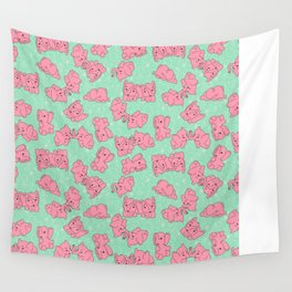 Pink Elephants on Mint Wall Tapestry