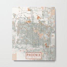 Phoenix City Map of Arizona, USA - Bohemian Metal Print