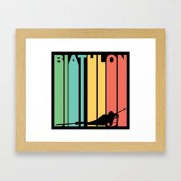 Retro Style Biathlon Biathlete Winter Framed Art Print