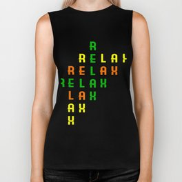 "Colorful combination of green yellow and orange tee design with text ""Relax"".Creative way to tell it Biker Tank"