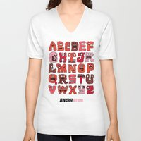letters V-neck T-shirts featuring Angry Letters by Chris Piascik