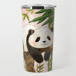 Panda under sunlight - Pink Travel Mug