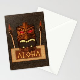 Vintage Wood Tiki Aloha Stationery Cards