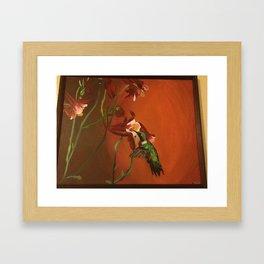 Hummingbird with Columbine Flowers Framed Art Print