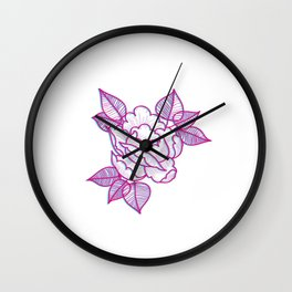 Old tattoo rose Wall Clock
