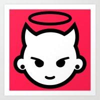 emoji Art Prints featuring Devious emoji by hello Malcolm