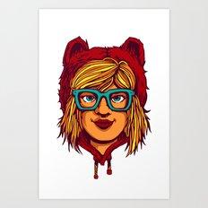 Nerdy bear girl Art Print