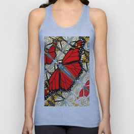 CONTEMPORARY RED BUTTERFLIES  ABSTRACT COLLAGE Unisex Tank Top