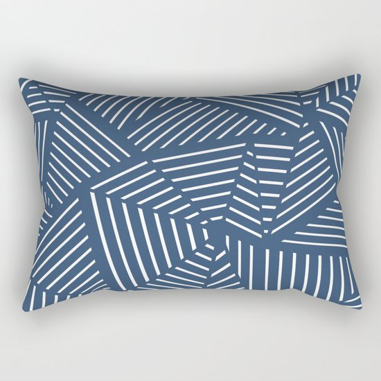 Abstraction Linear Zoom Navy Rectangular Pillow
