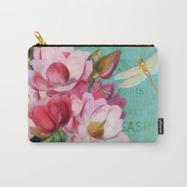Verdigris, pink magnolia flower, dragonfly vintage look floral art Carry-All Pouch