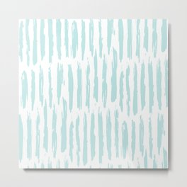 Vertical Dash Stripes Succulent Blue and White Metal Print