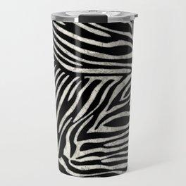 Zebra Stripes Silver Glitter Travel Mug