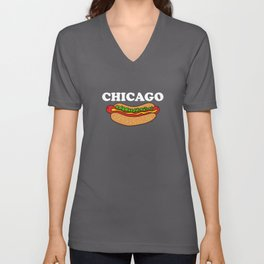 Chicago Style Hotdog Chicagoan Apparel Gift Unisex V-Neck
