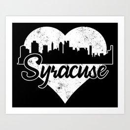 Retro Syracuse New York Skyline Heart Distressed Art Print
