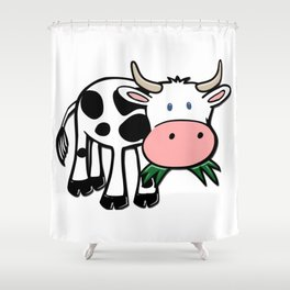 Black and White Steer Munching Grass Shower Curtain