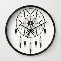 dreamcatcher Wall Clocks featuring Dreamcatcher by Bohemian Gypsy Jane