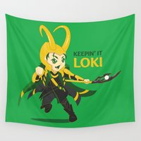 loki Wall Tapestries featuring Keepin' it Loki by Nikittysan
