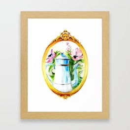 vintage watercolor with tea and flowers in a frame Framed Art Print