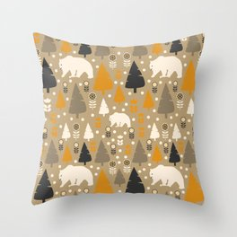 Bears in a winter forest Throw Pillow