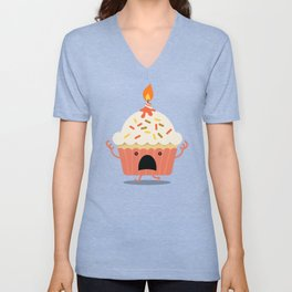 Cupcake on fire Unisex V-Neck