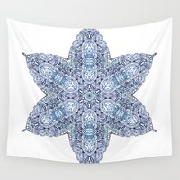 snowflake Wall Tapestries featuring Snowflake by Awispa