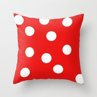 polka dot Throw Pillows featuring Polka dot by Bubblemaker