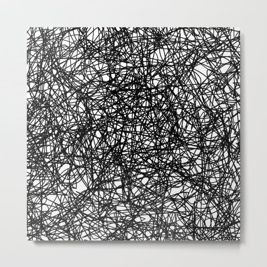 Angry Scribbles - Black and white, abstract, black ink scribbles pattern Metal Print