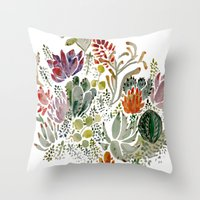 quilt Throw Pillows featuring Succulents  by Hannah Margaret Illustrations