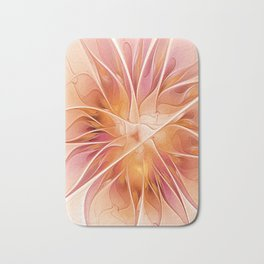 Floral Impression, Abstract Fractal Art Bath Mat