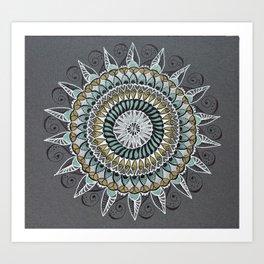 White Gold Green Mandala Mindfulness Art Art Print