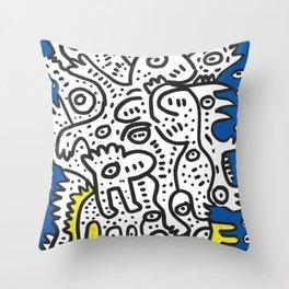 Yellow Blue Graffiti Art Doodle Black and White  Throw Pillow