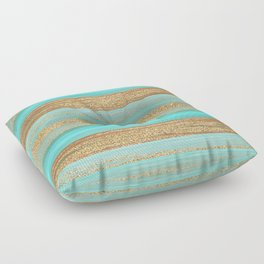 Turquoise Brown Faux Gold Glitter Stripes Pattern Floor Pillow