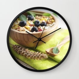Healthy through the day with cereal Wall Clock