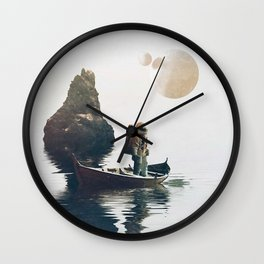 Searching Land    surrealism, scifi, collage Wall Clock