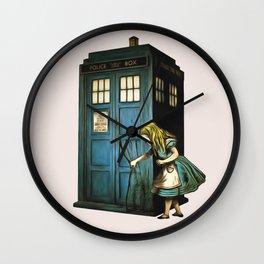 Through The Police Box - Alice In Wonderland Wall Clock