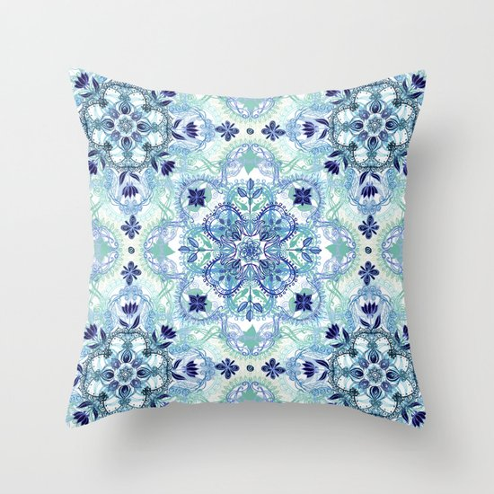 Navy Blue, Green & Cream Detailed Lace Doodle Pattern Throw Pillow by Micklyn Society6