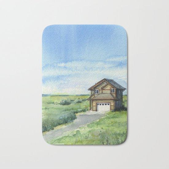 Beach House Landscape Watercolor | Long Beach, WA Bath Mat
