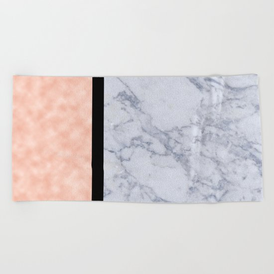 Modern candy pink and marble Beach Towel