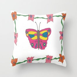 Butterfly and Blooms Throw Pillow