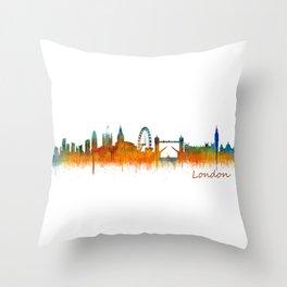 London City Skyline HQ v3 Throw Pillow