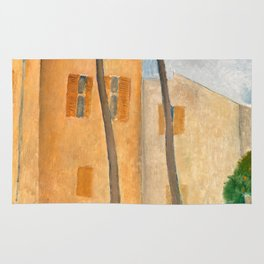 """Amedeo Modigliani """"Cypresses and Houses at Cagnes (Cyprès et maisons à Cagnes)"""" Rug"""