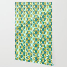 Funky Mid Century Modern Pattern 773 Turquoise and Chartreuse Wallpaper