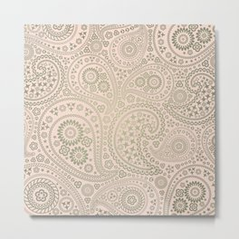 Gold and Soft Pink Paisley Pattern Metal Print