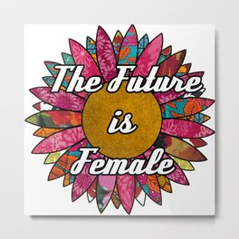 The Future is Female Retro Fabric Collage Metal Print